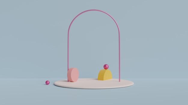 Studio con forme geometriche, podio sul pavimento. 3d reso