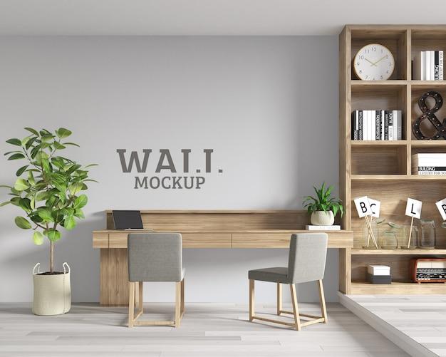 Spazio studio con mobili in legno e mockup a parete