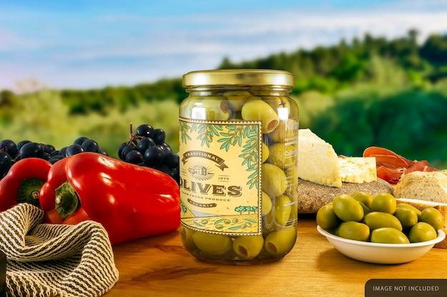 Mockup di barattolo di olive ripiene