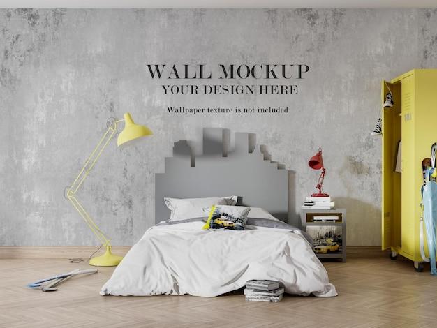 Design elegante del mockup della parete della camera da letto dei ragazzi