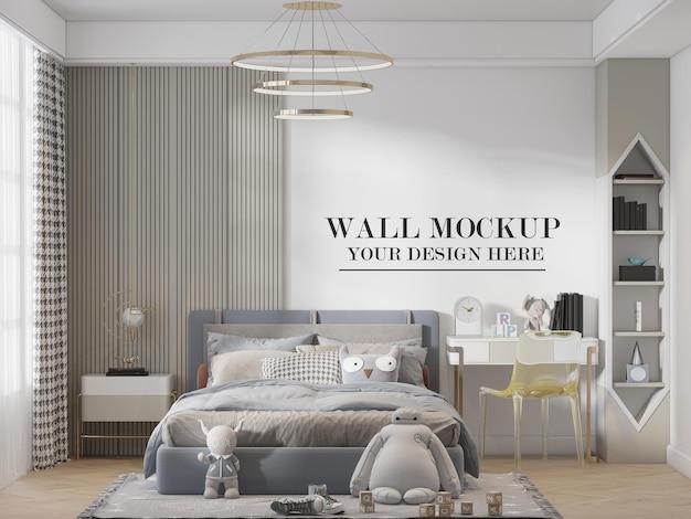 Elegante mockup della parete della camera da letto del bambino o dell'adolescente