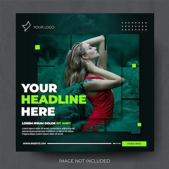 Modello di feed post instagram di vendita di moda verde elegante