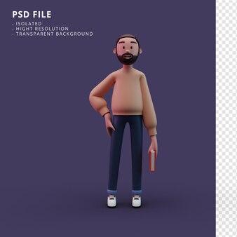 Elegante personaggio maschile in possesso di un libro rendering 3d