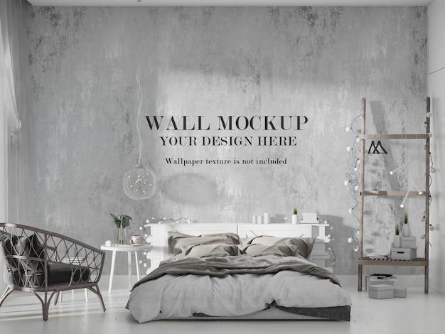 Mockup di parete camera da letto moderna ed elegante