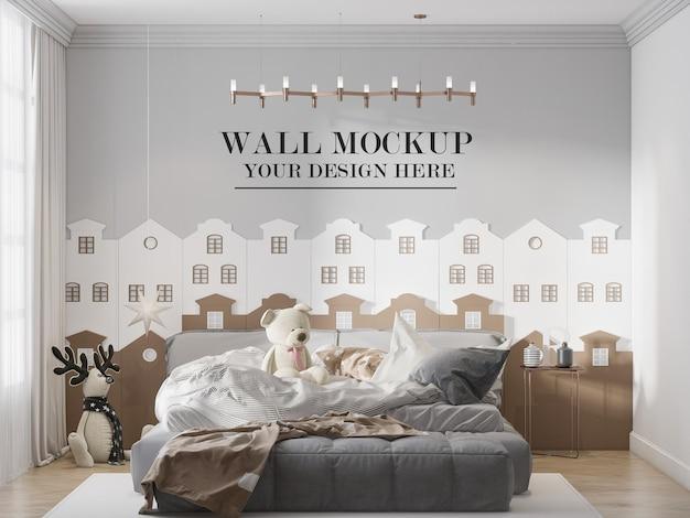 Elegante mockup della parete della stanza dell'adolescente