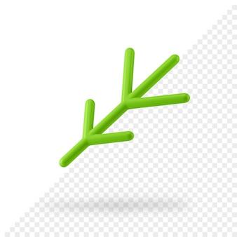 Il ramoscello stilizzato 3d di natale rende. arredamento minimalista verde per le vacanze invernali. pino astratto realistico con un design moderno del nuovo anno. ornamento decorativo per allegre feste rumorose.