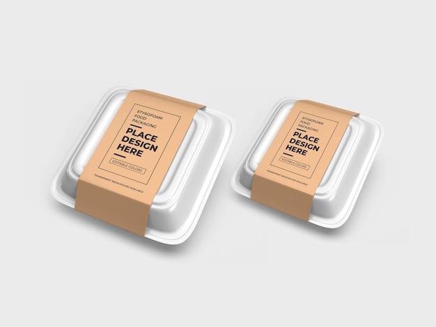 Mockup di imballaggio per scatole per alimenti in polistirolo