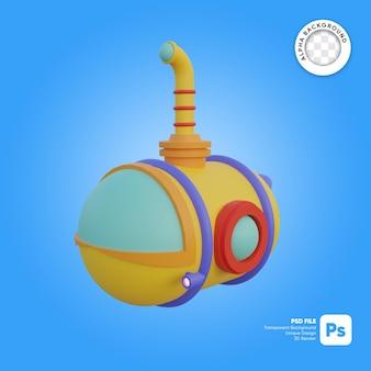 Illustrazione di oggetti 3d con aspetto frontale in stile cartone animato sottomarino