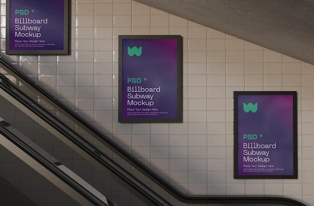 Mockup di cartelloni pubblicitari della metropolitana