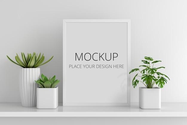 Pianta in vaso succulenta con mockup di cornice