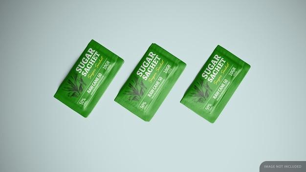 Zucchero stevia dolcificante bustina mockup design nel rendering 3d