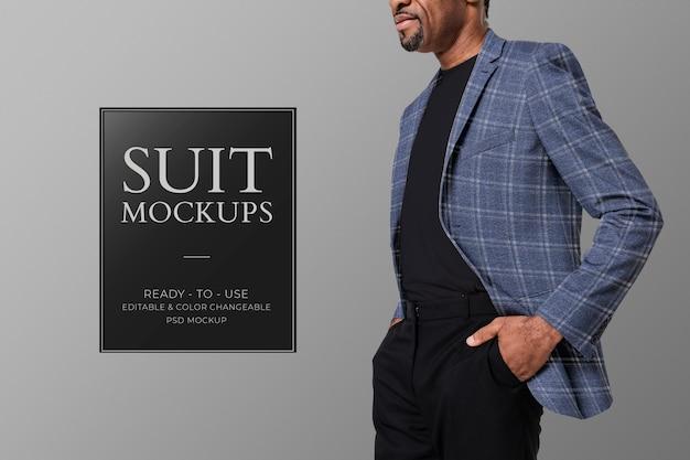 Suit mockup psd per annuncio formale di abbigliamento maschile