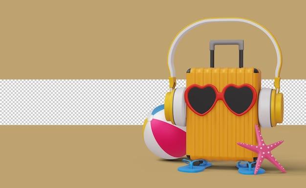 Cuffia waring valigia con pallone da spiaggia e stelle marine, rendering 3d stagione estiva