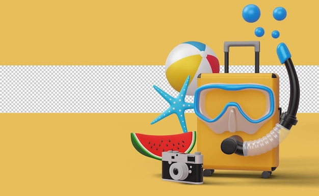 Valigia con maschera da sub con attrezzatura da spiaggia, stagione estiva, rendering 3d estivo summer