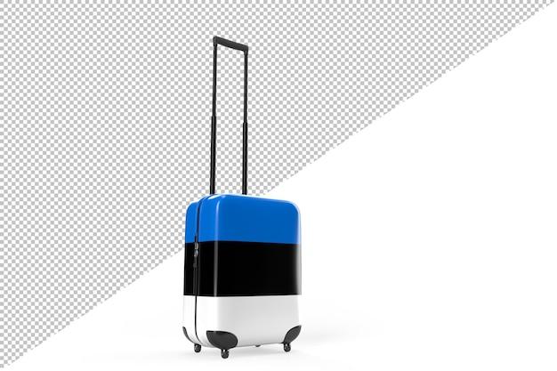 Valigia con bandiera dell'estonia come concetto di viaggio