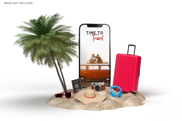 Valigia con accessori da viaggio, rendering di elementi di vacanza essenziali