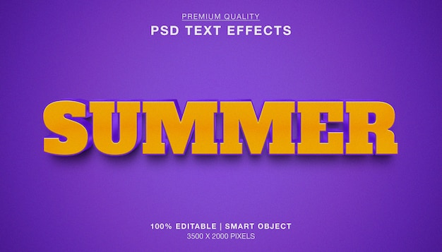 Effetto di testo modificabile estate 3d