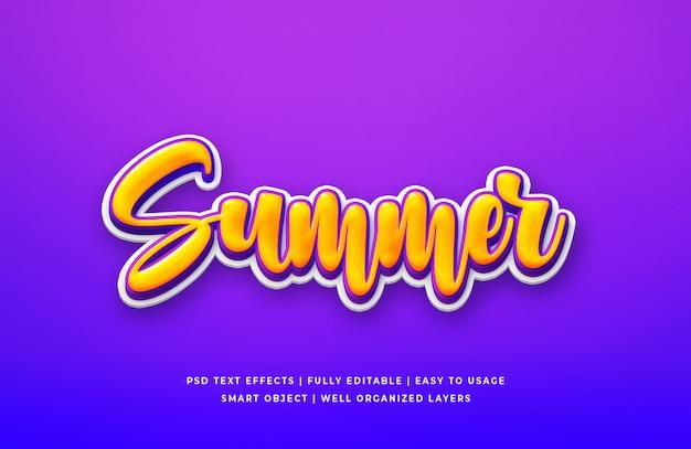 Effetto di stile del testo 3d di estate