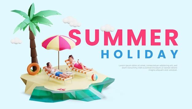 Modello di banner estivo con illustrazione e ombrello del personaggio delle coppie 3d