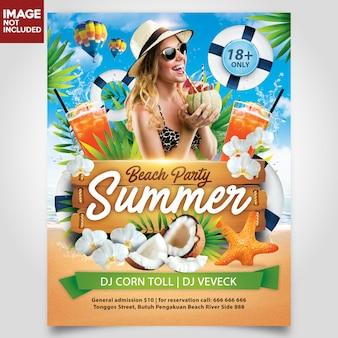 Festa della spiaggia di estate con strato editabile del modello di flyer dell'albero di cocco