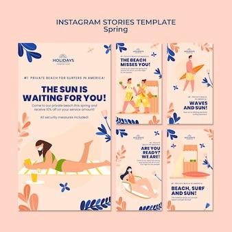 Raccolta di storie di instagram del resort estivo sulla spiaggia