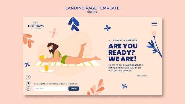 Modello di pagina di destinazione del resort estivo sulla spiaggia