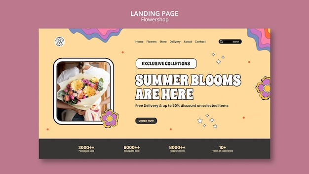 Modello di pagina di destinazione delle fioriture estive