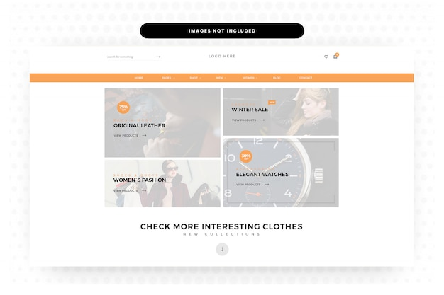 Pagina di destinazione del sito web di abbigliamento estivo, pagina iniziale, intestazione, cursore
