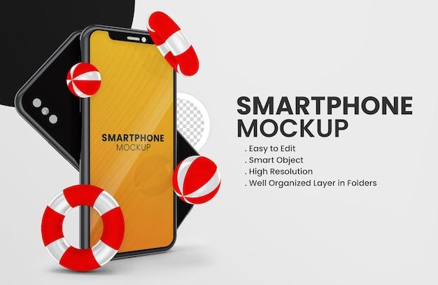 Concetto estivo con mockup di smartphone