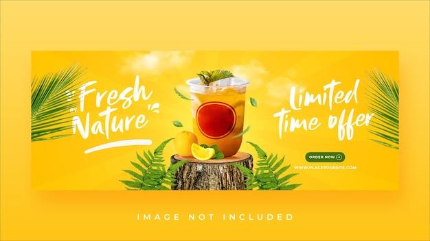 Modello di banner di copertina di facebook per la promozione del menu delle bevande estive summer