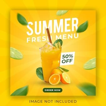 Modello dell'insegna della posta del instagram di promozione del menu della bevanda di estate