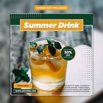 Modello di post social media bevanda estiva