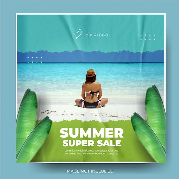 Feed di post di instagram di carta stropicciata per saldi di moda estiva