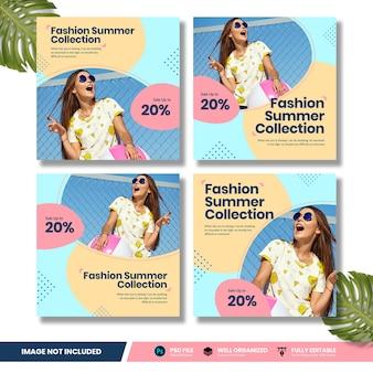 Collezione di banner social media di promozione di moda estate vendita