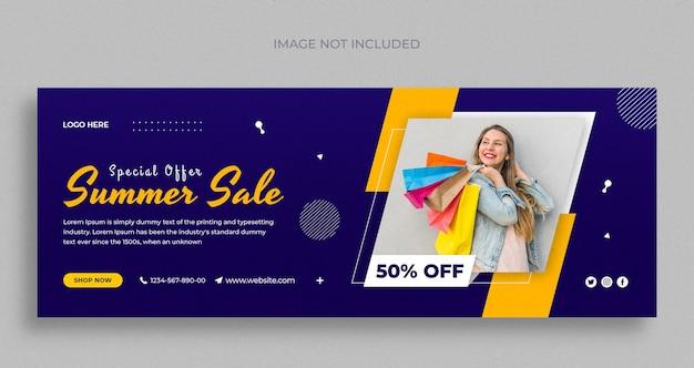 Volantino per banner per social media di vendita di moda estiva e modello di copertina di facebook
