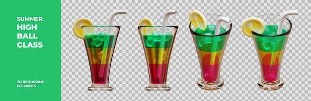 Elementi di rendering 3d in vetro highball estivo