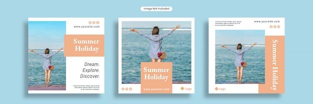 Modello di banner social media vacanza estiva o collezione flyer quadrato