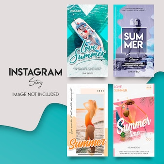 Insieme di modelli di storia instagram estate