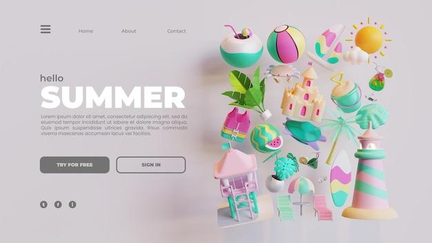 Modello di pagina di destinazione estiva con composizione di oggetti di rendering 3d