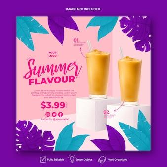 Modello di banner post instagram social media di promozione del menu estivo