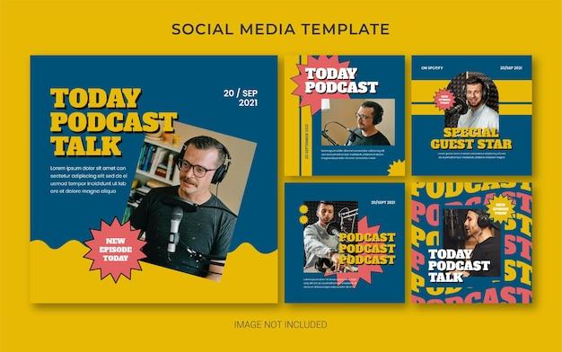 Podcast estivo retro social media post banner layout