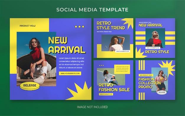 Layout di banner post per social media moda retrò estate