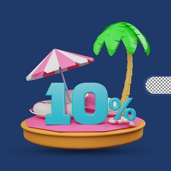 Saldi estivi 10% di sconto offerta 3d rendering