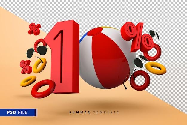 Saldi estivi 10% di sconto promozionale con accessori da spiaggia isolati