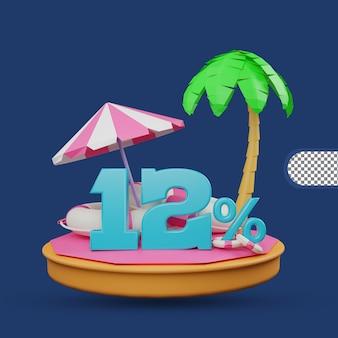 Saldi estivi 12 percento di sconto offerta 3d rendering