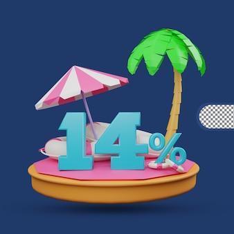 Saldi estivi 14% di sconto offerta 3d rendering Psd Premium