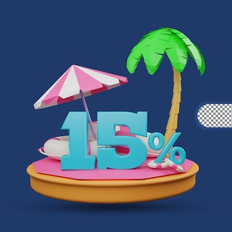 Saldi estivi 15% di sconto offerta 3d rendering