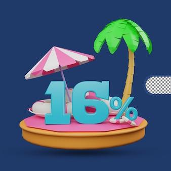 Saldi estivi 16% di sconto offerta 3d rendering
