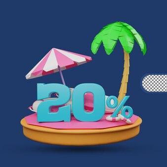 Saldi estivi 20% di sconto offerta 3d rendering