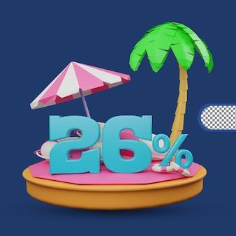 Saldi estivi 26 percento di sconto offerta 3d rendering